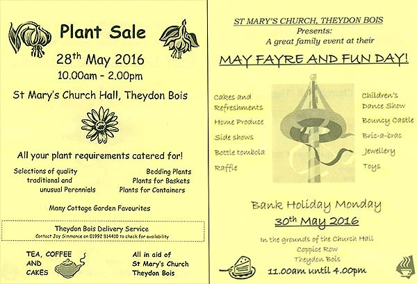 St. Mary's Church Theydon Bois May Events 2016 Poster
